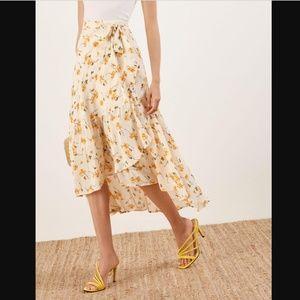 NWOT The Reformation Annaliese Midi Wrap Skirt